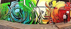 the new style of San Francisco street art graffiti in progress