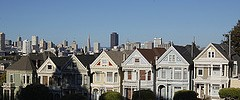 Painted Ladies and San FranciscoCity Skyline