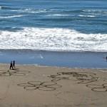 art, rake art, raked sand, Ocean Beach, San Francisco, ocean, beach,