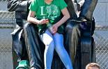 Irish, San Francisco, St. Patrick's Day Parade, spectator on statue,