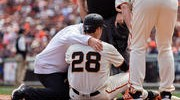 Posey After Scare in Giants Home Opener: 'I Feel Good'
