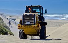 bulldozer, Ocean Beach, San Francisco, sand dunes,