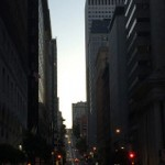 Dusk falls on California Street