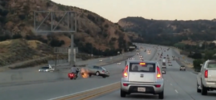 Road Rage: Motorcyclist Kicks Sedan, Sparks Crash