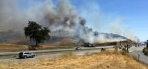 Fire Scorches Dried Grass Along Interstate 80 in Rodeo