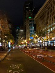 A September night on Market Street, San Francisco.