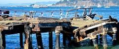 aging, crumbling, pier, SF Bay