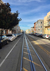 Cable car tracks to the bay